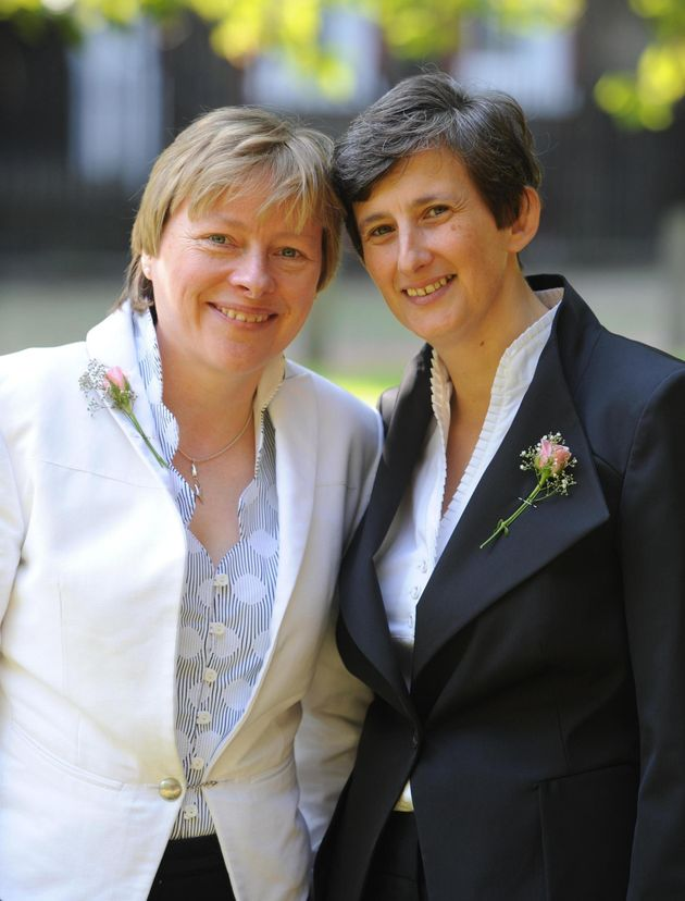 Angela Eagle with her partner Maria Exall at their civil partnership