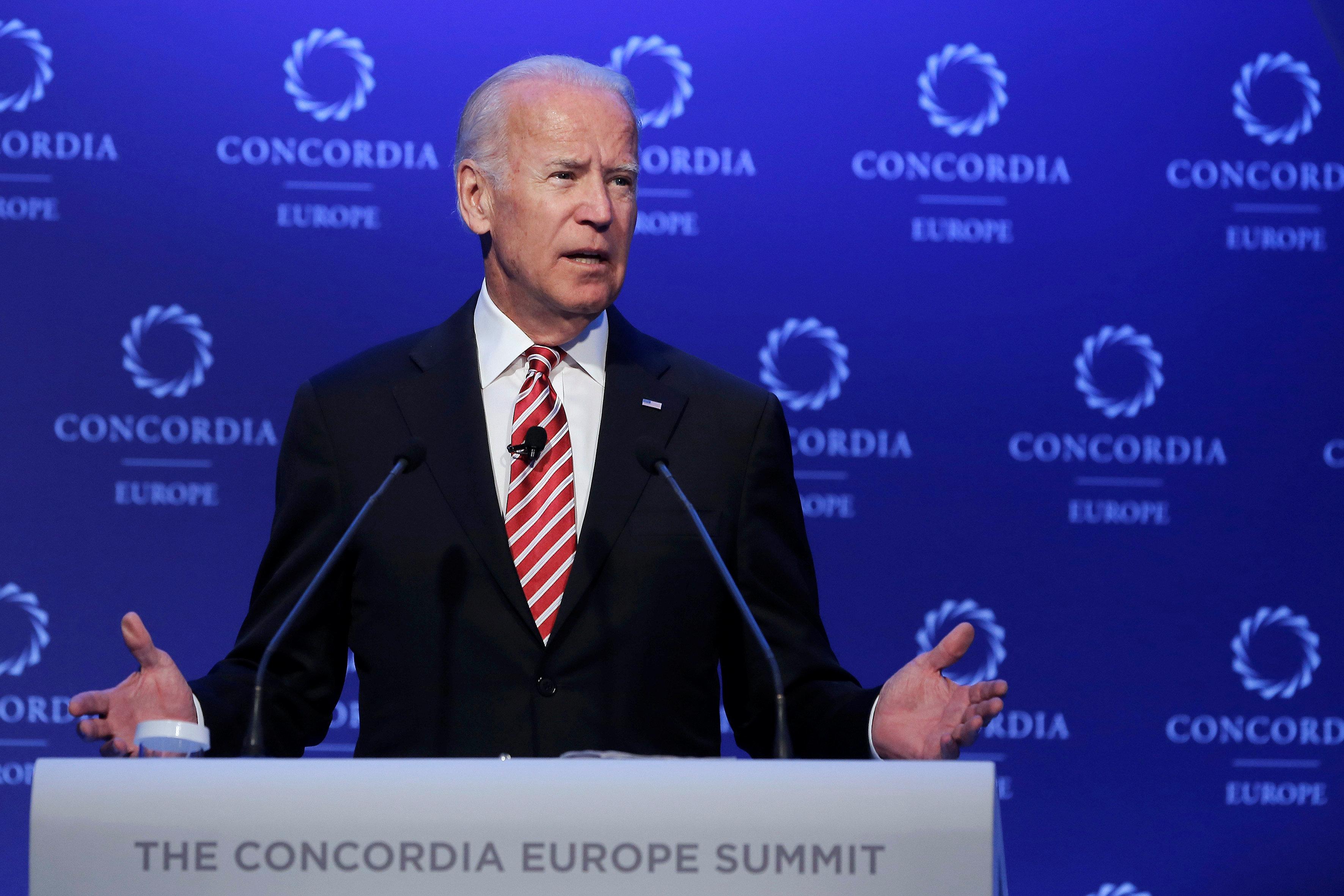 U.S. former Vice President Joe Biden delivers a speech during the Concordia Europe Summit in Athens, Greece June 7, 2017. REUTERS/Costas Baltas