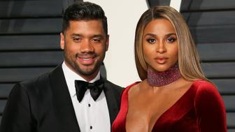BEVERLY HILLS, CA - FEBRUARY 26: Ciara and Russell Wilson attend the 2017 Vanity Fair Oscar Party hosted by Graydon Carter at Wallis Annenberg Center for the Performing Arts on February 26, 2017 in Beverly Hills, California. (Photo by JB Lacroix/WireImage)