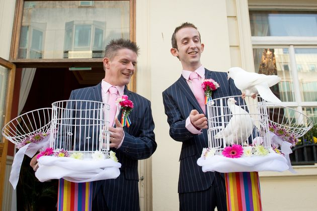 Same-sex couples were allowed to marry following a change to the law in