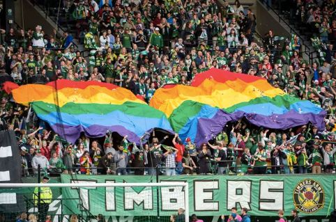 A rainbow flag at a Portland Timbers game in June.