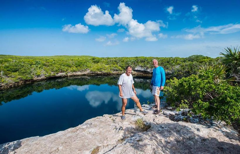 with Steve Johnson at the 600 foot deep Hoffman's Cay Blue Hole