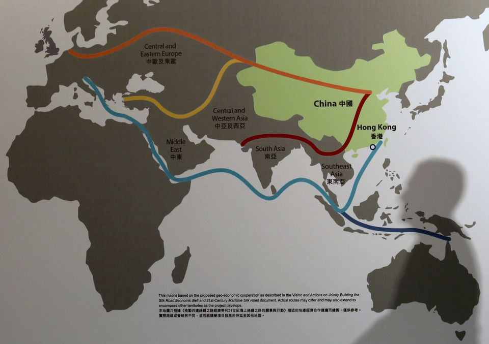A map illustrating China's Belt and Road Initiative at the Asian Financial Forum in Hong Kong. Jan. 18,