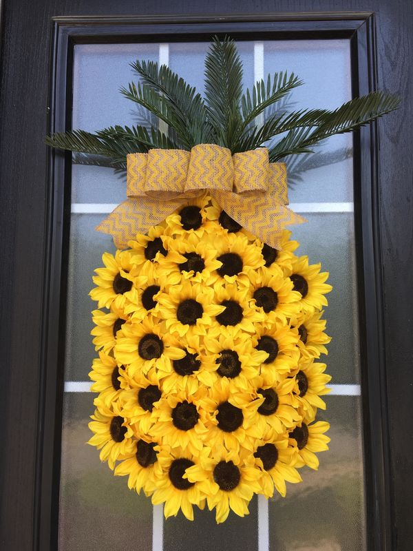 """<strong><a href=""""https://www.etsy.com/listing/527945051/pineapple-wreath-sunflower-wreath-spring?ga_order=most_relevant&g"""