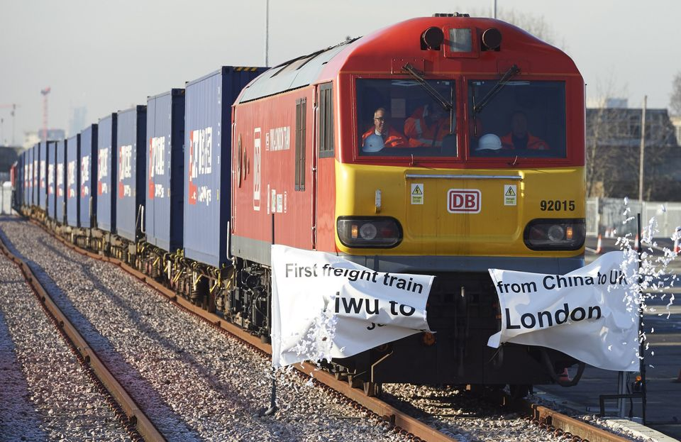 The first freight train directly connecting China to the U.K.arrived in London on Jan. 18 after...
