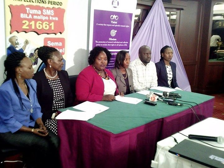 Joshine Mong'are, the chair of FIDA-Kenya, at the launch of Sema Usikike, an app that allows women to report election-r