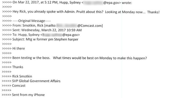 Emails exchanged between Rick Smotkin, Comcast's senior vice president of government affairs, and EPA executive scheduler Syd