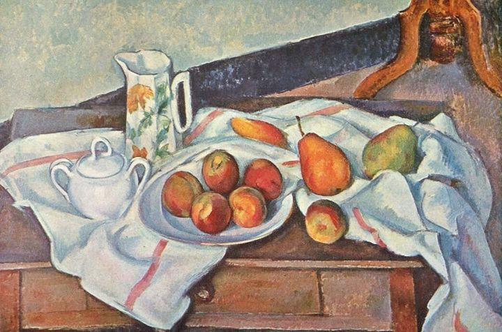 """Paul Cezanne, """"Still Life with Peaches and Pears,"""" 1888-90"""