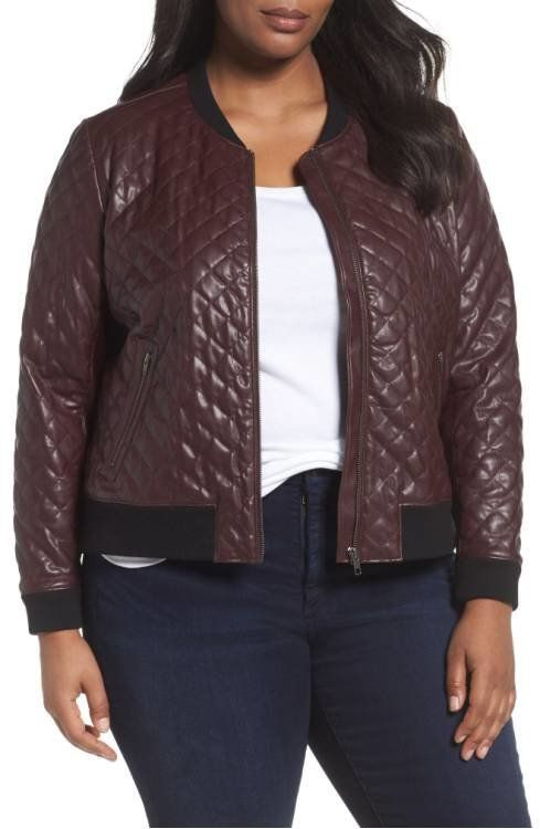 """<a href=""""http://shop.nordstrom.com/s/sejour-quilted-faux-leather-bomber-jacket-plus-size/4561291?origin=category-personalized"""