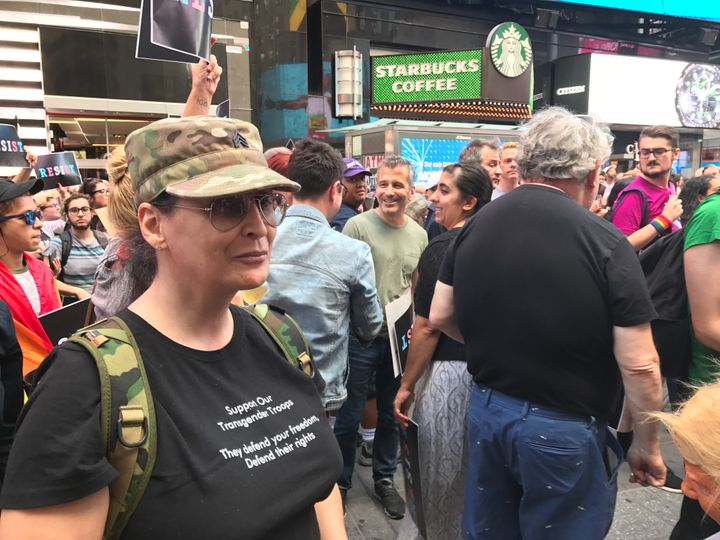 "Jacqueline Swannick, a trans woman who served in the U.S. Army for eight years, said Trump's proposed ban sends a ""very"
