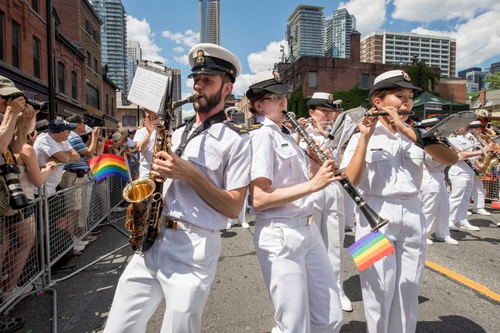 The Canadian Naval Band performs during the Toronto Pride Parade on July 3, 2016.