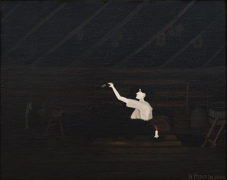 """Horace Pippin, """"Abe Lincoln's First Book,"""" 1944, oil on canvas, Carnegie Museum of Art"""