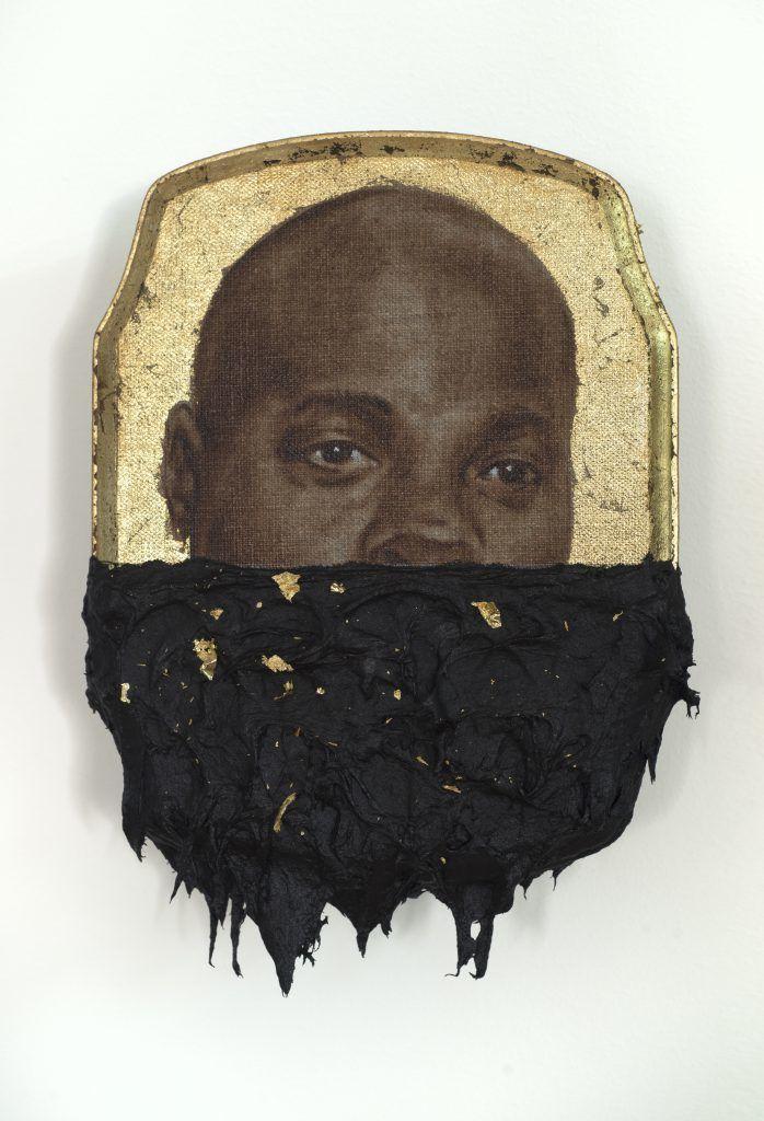 "Titus Kaphar, ""Jerome IV,"" 2014, Oil, gold leaf, and tar on wood, panel. The Studio Museum in Harlem."