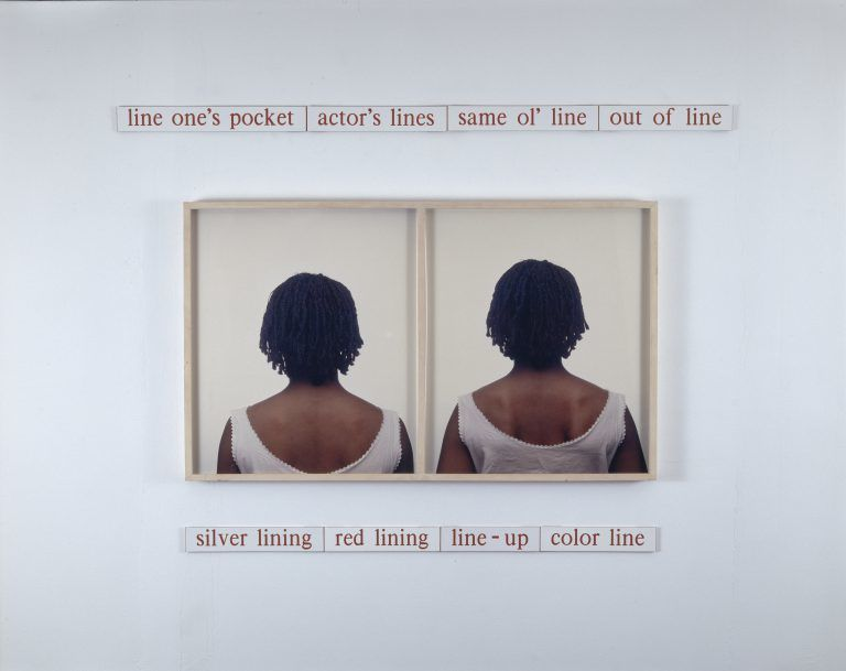 """Lorna Simpson, """"Dividing Lines,"""" 1989, Dye diffusion color prints and engraved plastic plaques. The Studio Museum in Harlem."""