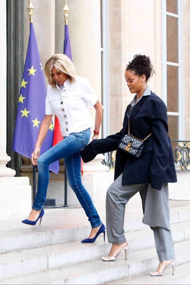 Rihanna Wears Oversized Dior Suit To Meet With The Macrons, And It's Cool
