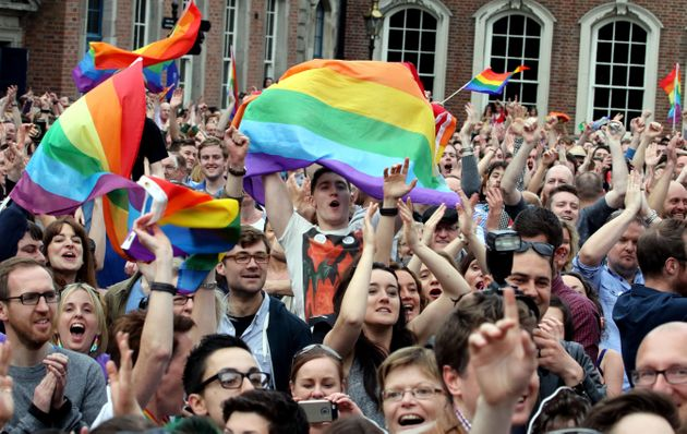 Supporters celebrate Ireland's decision to legalise gay