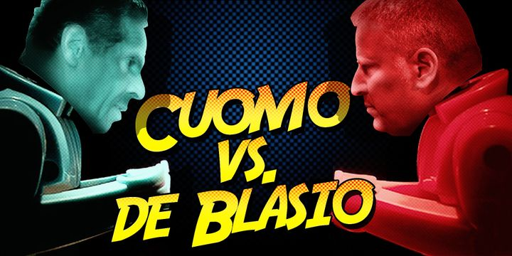 New Yorkers are forced to watch a Grade B horror movie between two super-villains.