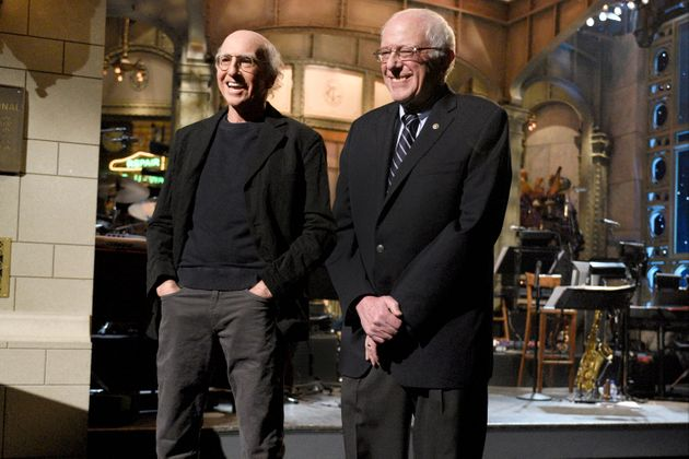 Larry David and Bernie Sanders (I-Vt.) stand side by side on the set of