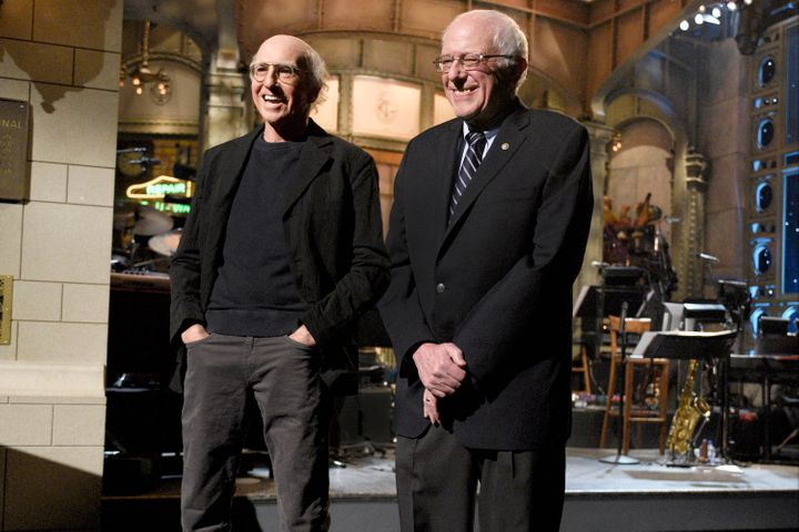 "Larry David and Bernie Sanders (I-Vt.) stand side by side on the set of ""Saturday Night Live."""