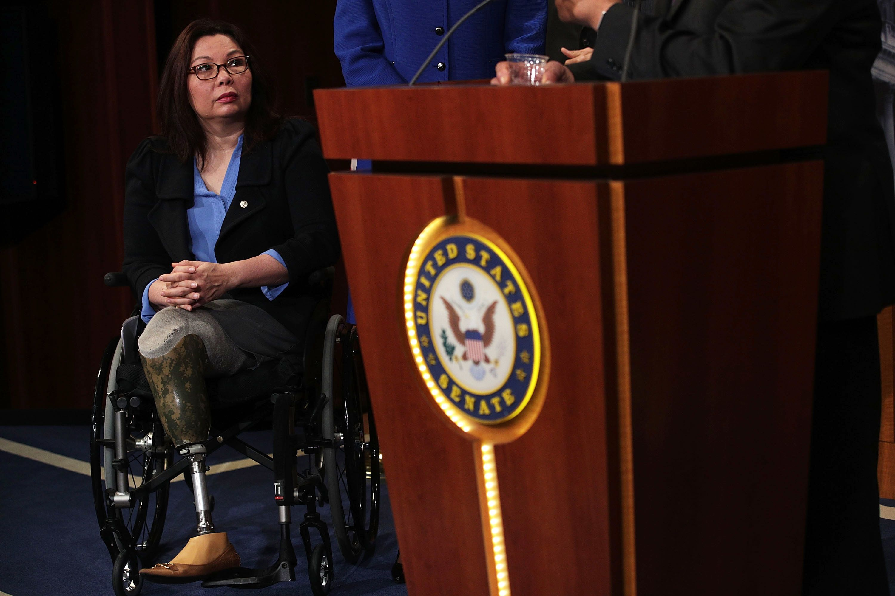 WASHINGTON, DC - APRIL 27:  U.S. Sen. Tammy Duckworth (D-IL) listens during a news conference at the Capitol April 27, 2017 in Washington, DC. Congressional Democrats held a news conference to discuss the first 100 days of the Trump presidency.  (Photo by Alex Wong/Getty Images)