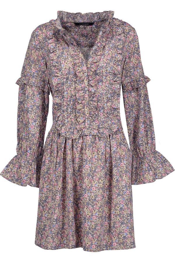 """Get the <a href=""""https://www.theoutnet.com/en-US/Shop/Product/W118-by-Walter-Baker/Amber-ruffled-floral-print-twill-mini-dres"""