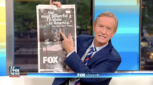 """Fox & Friends"" hosts devoted much of the Thursday show to the full-page ad the network took out in The"