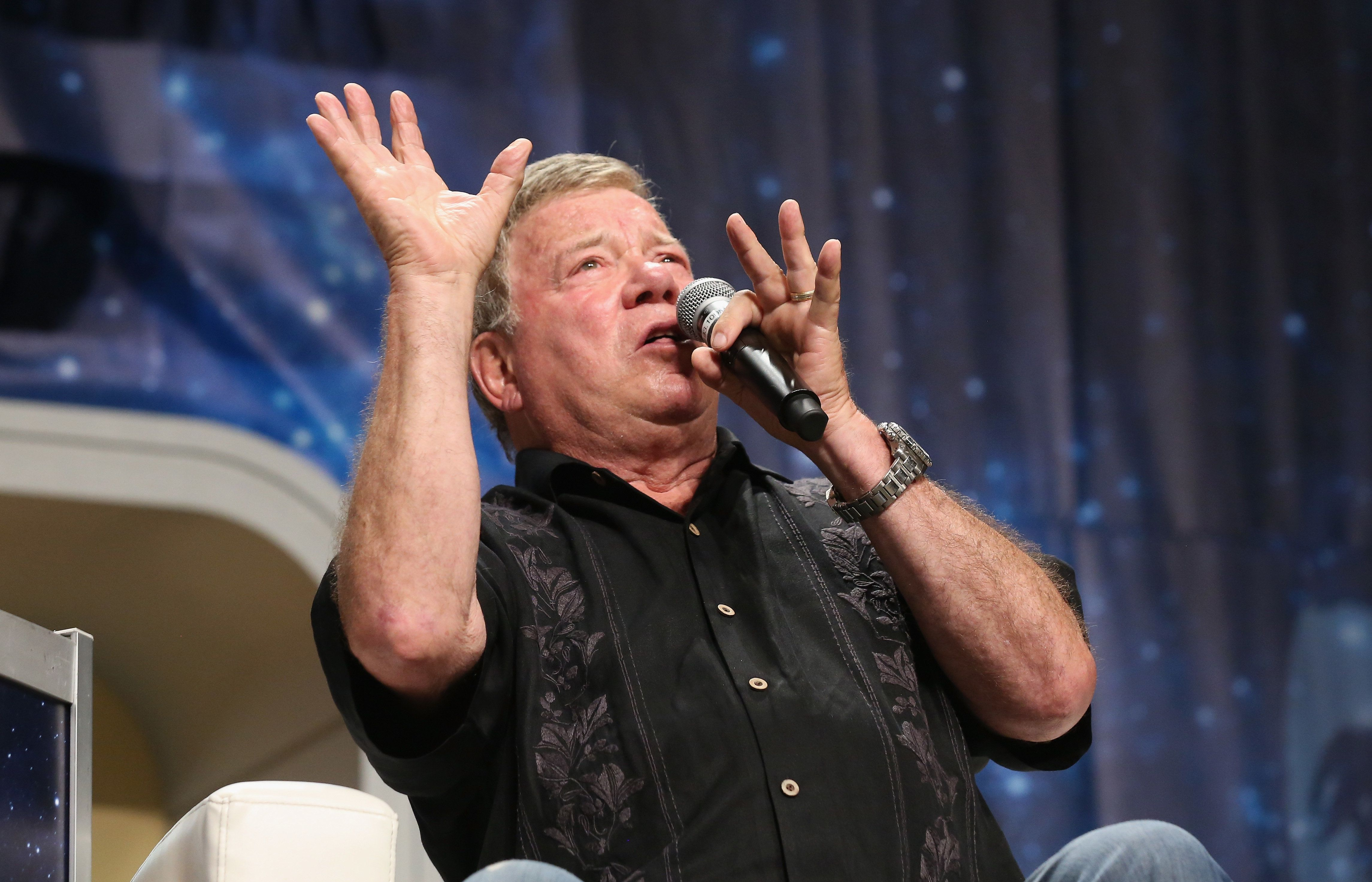 LAS VEGAS, NV - AUGUST 06:  Actor William Shatner speaks during the 15th annual official Star Trek convention at the Rio Hotel & Casino on August 6, 2016 in Las Vegas, Nevada.  (Photo by Gabe Ginsberg/Getty Images)