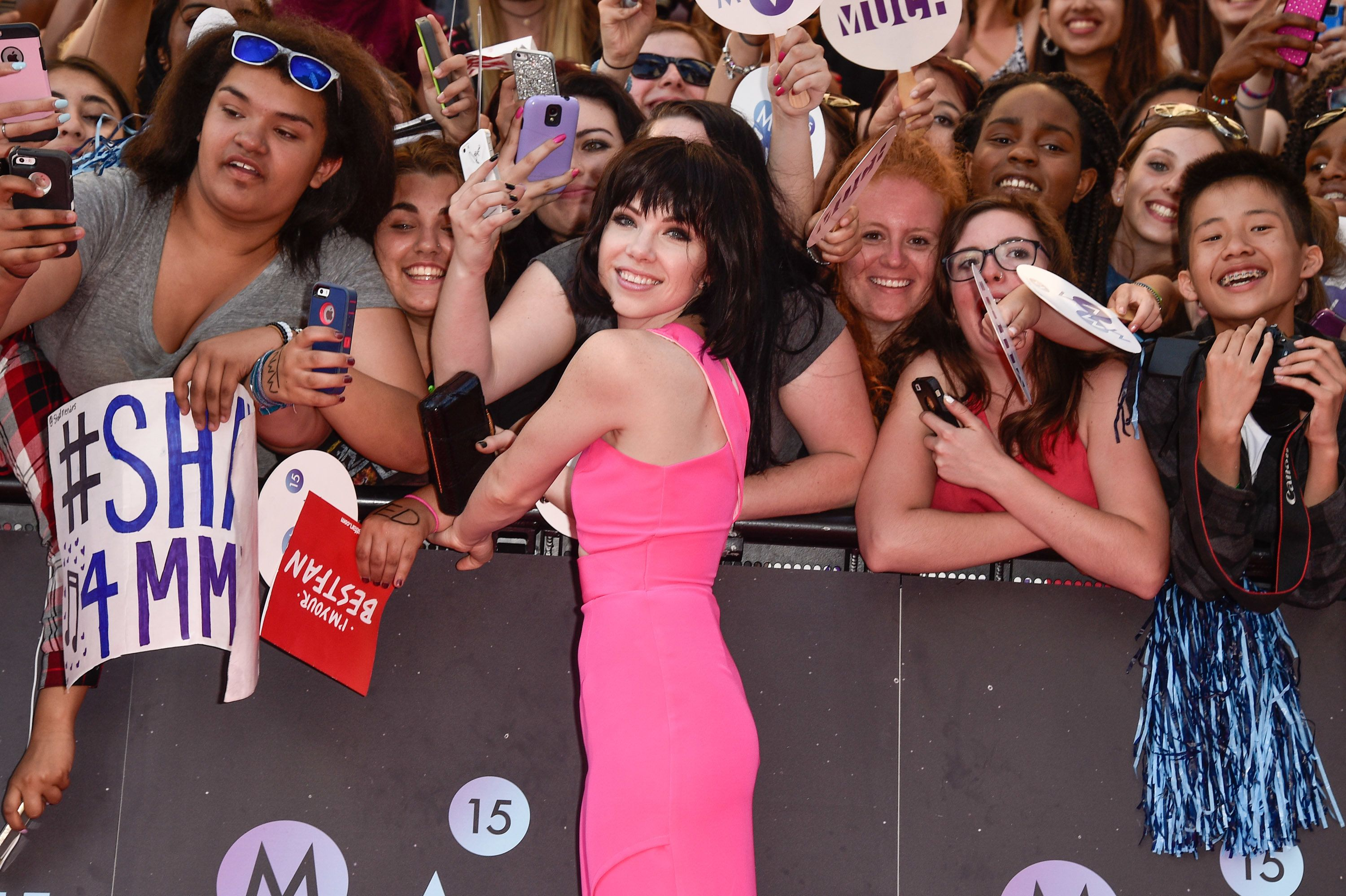TORONTO, ON - JUNE 21:  Carly Rae Jepsen arrives at the 2015 MuchMusic Video Awards at MuchMusic HQ on June 21, 2015 in Toronto, Canada.  (Photo by George Pimentel/WireImage)