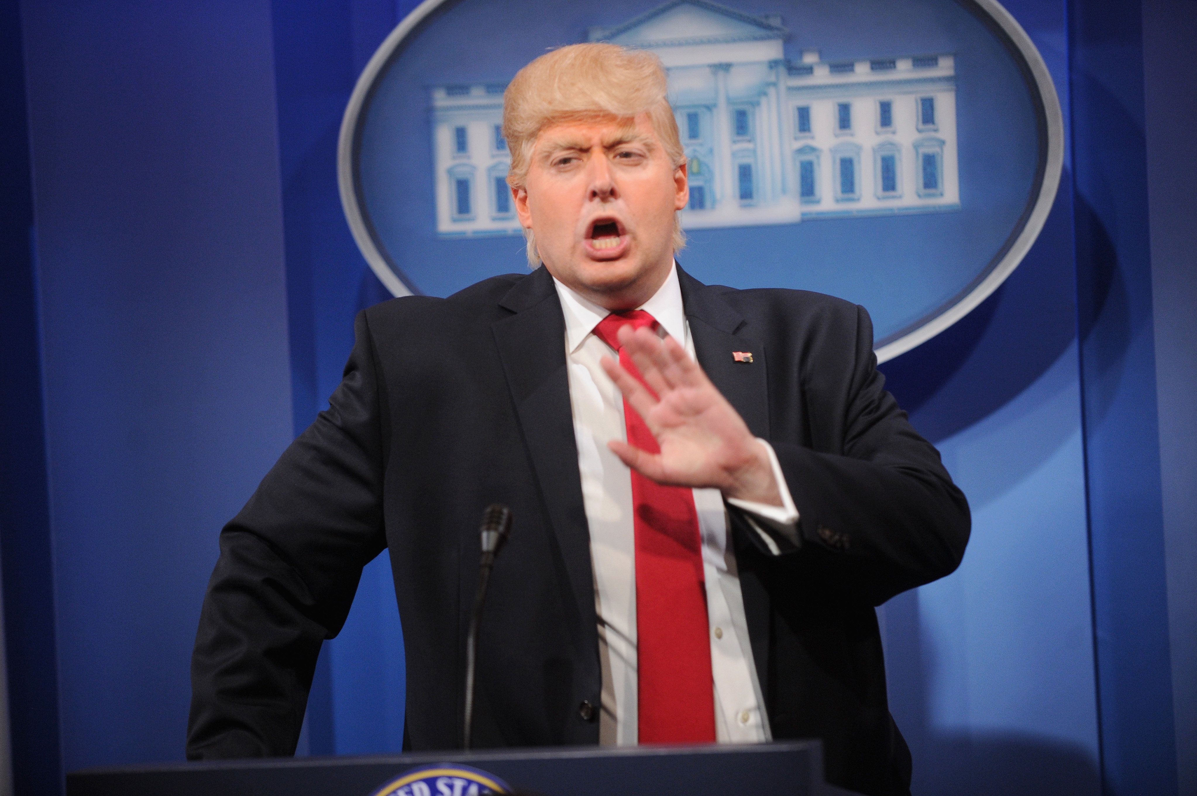 "Anthony Atamanuik as Donald Trump on ""The President Show."""