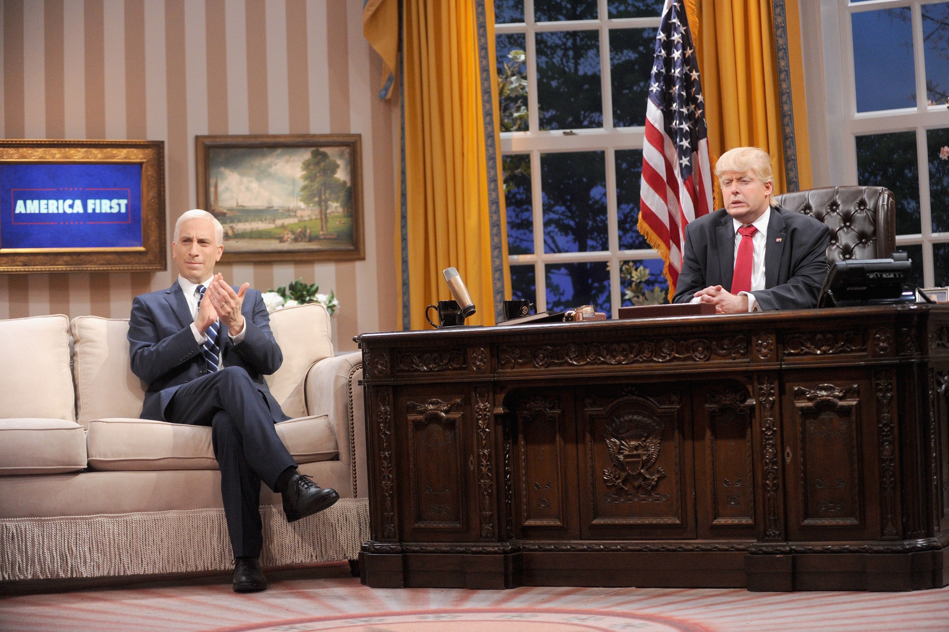 "Peter Grosz as Mike Pence and Anthony Atamanuik as Donald Trump on ""The President Show."""