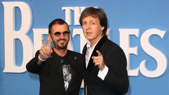 LONDON, ENGLAND - SEPTEMBER 15:  Ringo Starr and Sir Paul McCartney arrive for the World premiere of 'The Beatles: Eight Days A Week - The Touring Years' at Odeon Leicester Square on September 15, 2016 in London, England.  (Photo by Fred Duval/FilmMagic)