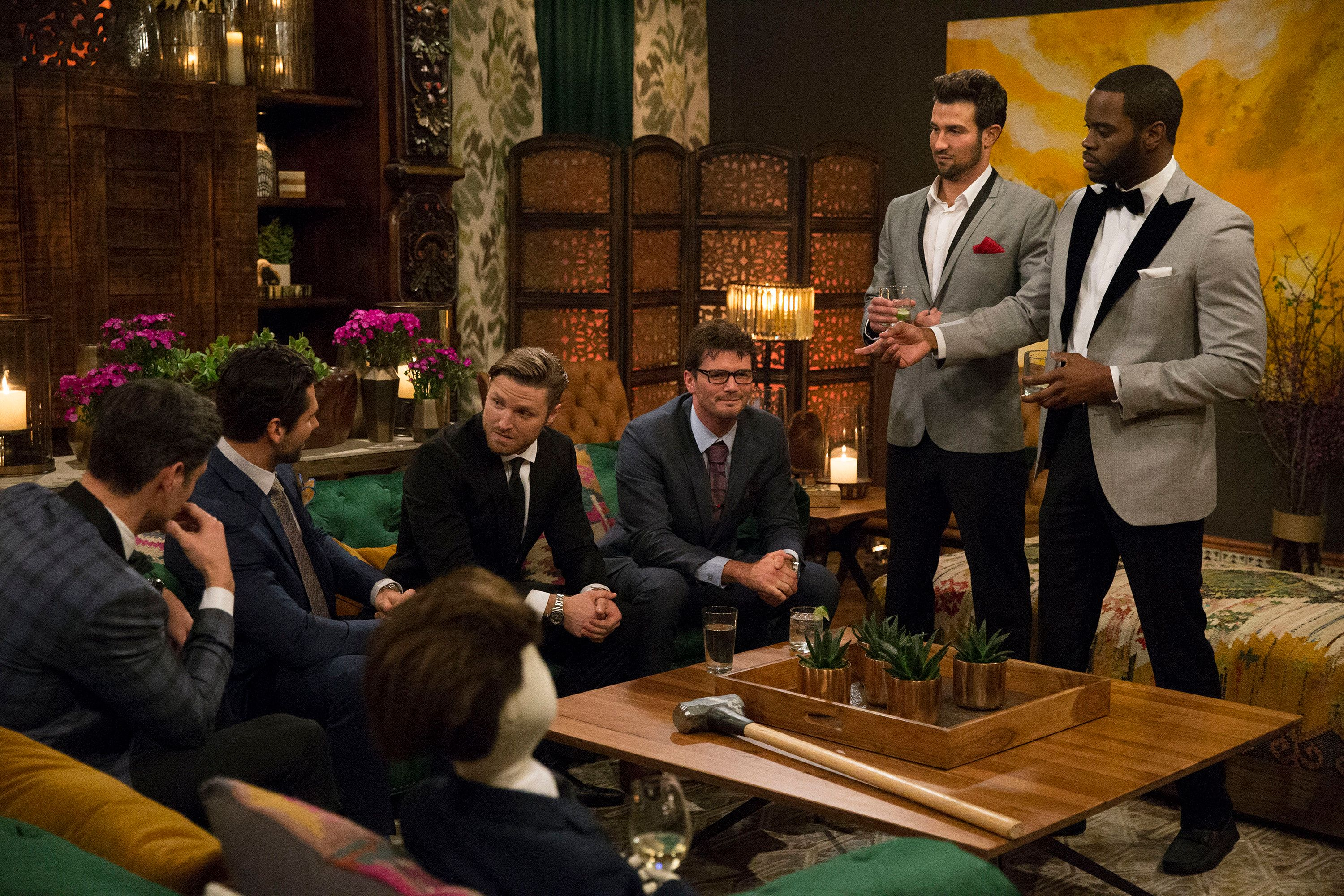 BACHELORETTE 13 - 'Episode 1301' - Accomplished Texas attorney Rachel Lindsay takes a recess from the courtroom to start her search for happily ever after in the 13th edition of ABC's hit series, 'The Bachelorette,' premiering at a special time, MONDAY, MAY 22 (9:01-11:00 p.m. EDT), on The ABC Television Network. (Paul Hebert/ABC via Getty Images) BRYAN, ALEX, BLAKE E., KENNETH ROBERT, BRYAN, JOSIAH
