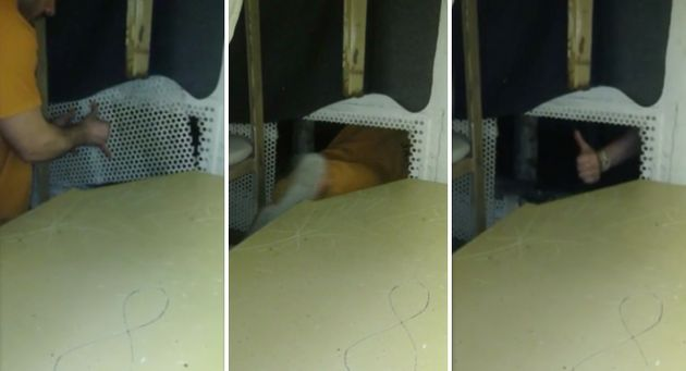 One of the inmates is seen removing a vent and crawling
