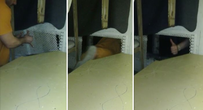 One of the inmates is seen removing a vent and crawling through.