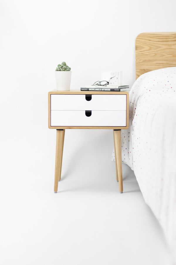 """This table features tapered legs and stacked drawers for a sleek, hardware-less look."" <a href=""https://www.etsy.c"