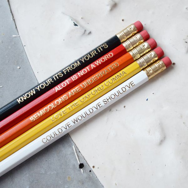 "$10.14, Newton and the Apple. <a href=""https://www.etsy.com/listing/472402376/red-grammar-pencils-set-ombre-coloured"" target="