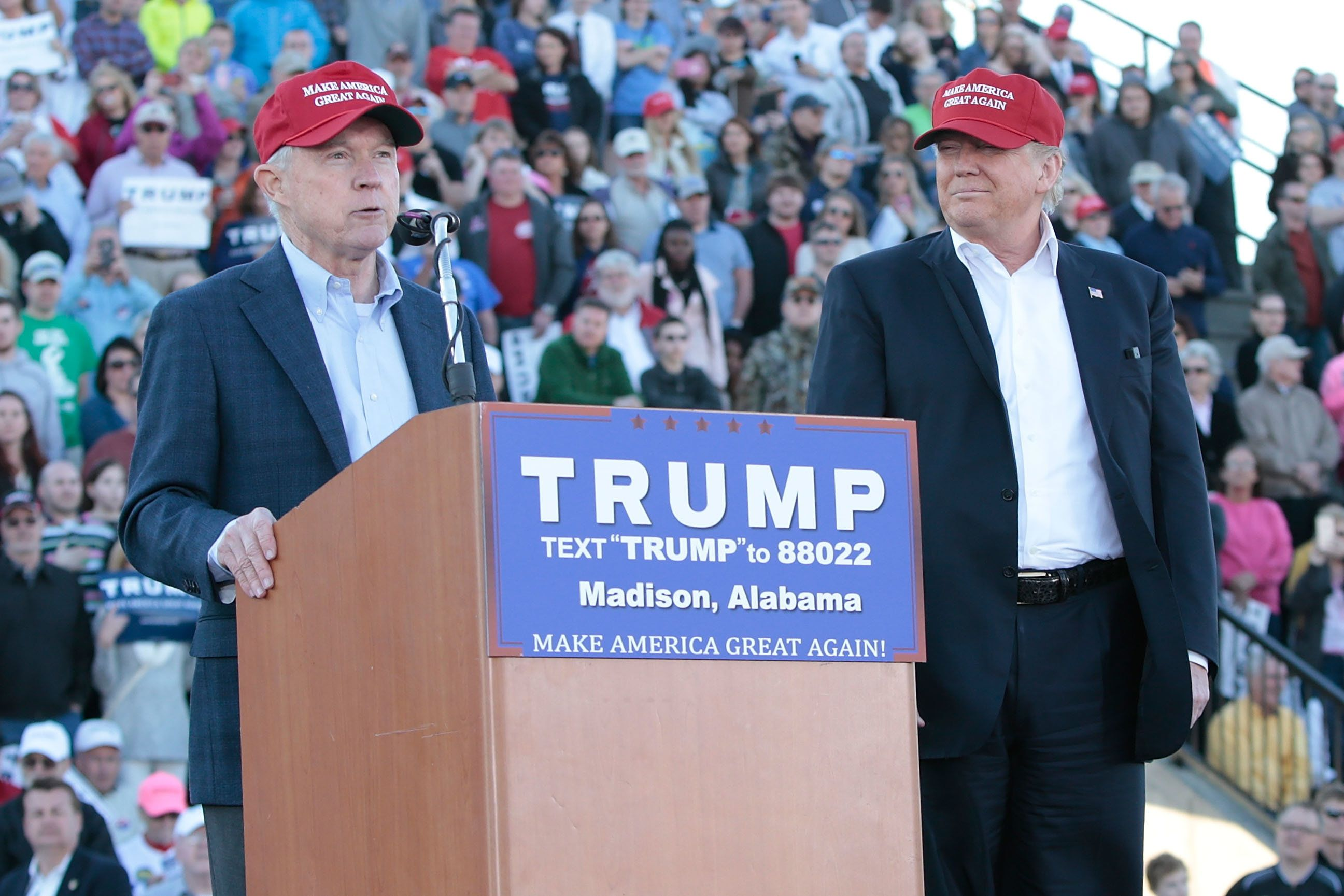 MADISON, AL - FEBRUARY 28:  United States Senator Jeff Sessions, R-Alabama, beomes the first Senator to endorse Donald Trump for President of the United States at Madison City Stadium on February 28, 2016 in Madison, Alabama.  (Photo by Taylor Hill/WireImage)