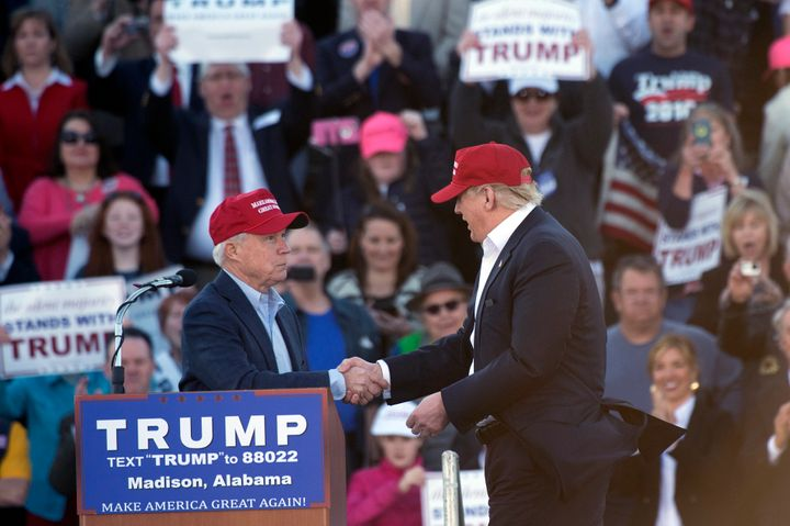 Then-Sen. Jeff Sessions (R-Ala.) endorses Donald Trump to be the Republican nominee for president during a campaign rall