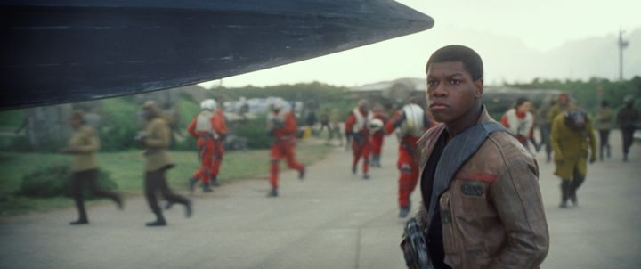 "John Boyega portrays Finn in ""Star Wars: The Force Awakens."""