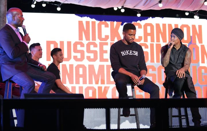 Van Jones, former NFL cornerback Nnamdi Asomugha and actor-comedian Nick Cannon talk politics at the Hollywood Palladium in L