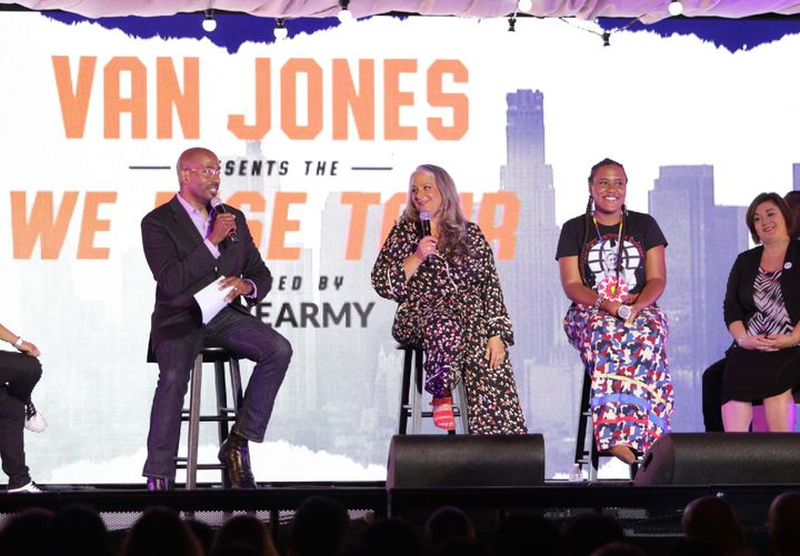 CNN's Van Jones adds writer and producer Marta Kauffman, center, and writer YoNasDa LoneWolf to a panel discussion at his We