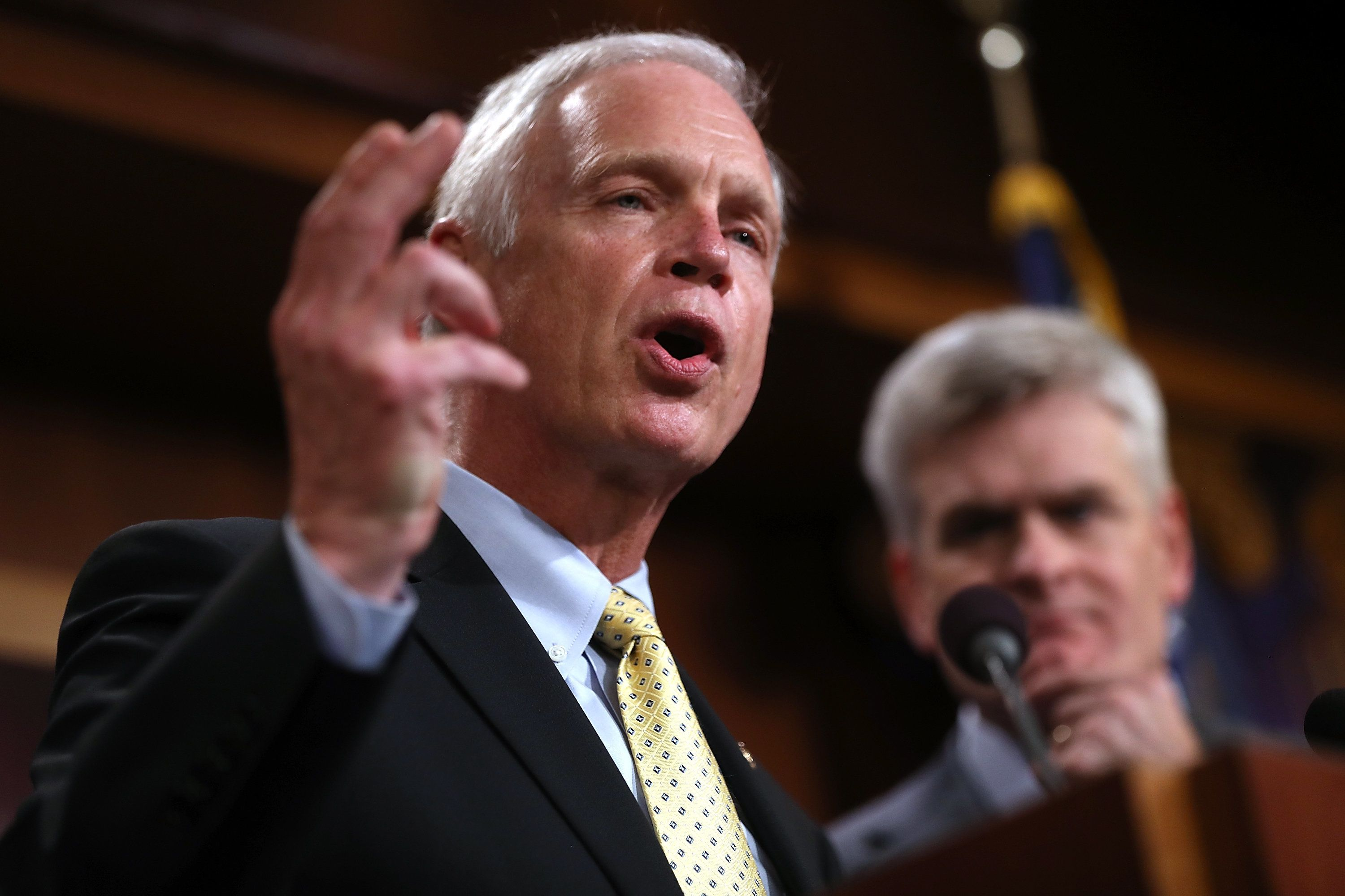 Sen. Ron Johnson (R-Wis.) announces opposition to the so-called skinny repeal of Obamacare on Thursday.