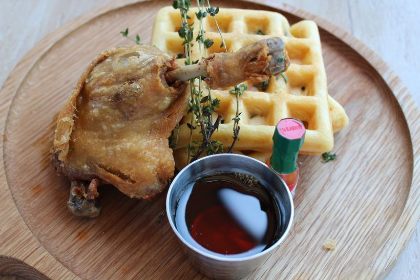 The Waffle with duck leg confit