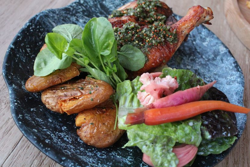 Brick Oven Chicken with mustard salsa verde, smashed herb potatoes, house pickled vegetables