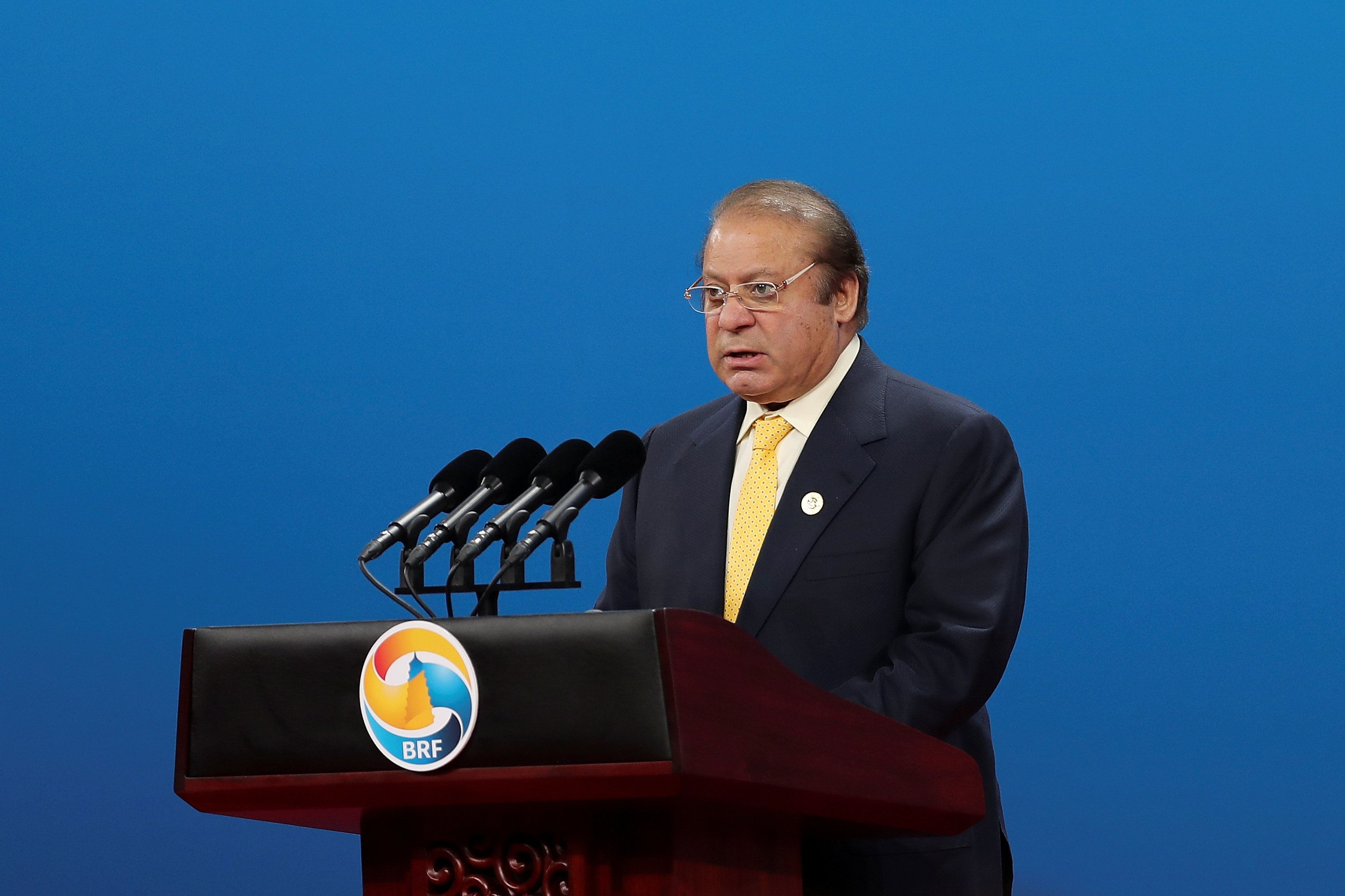 Prime Minister of Pakistan Nawaz Sharif speaks during the Belt and Road Forum for International Cooperation in Beijing, China May 14, 2017. REUTERS/Lintao Zhang/Pool *** Local Caption *** awaz Sharif