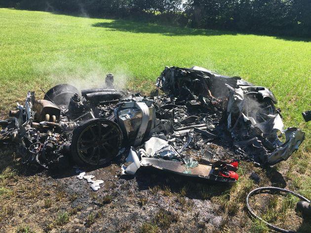 The smouldering scene beside the M1 near Barnsley, South Yorkshire on Thursday