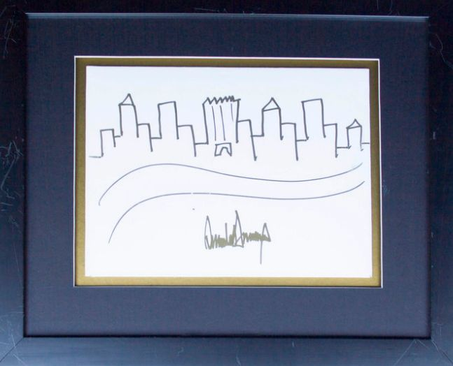 This framed and signed sketch by President Donald Trump fetched almost $30,000 at auction on Thursday.
