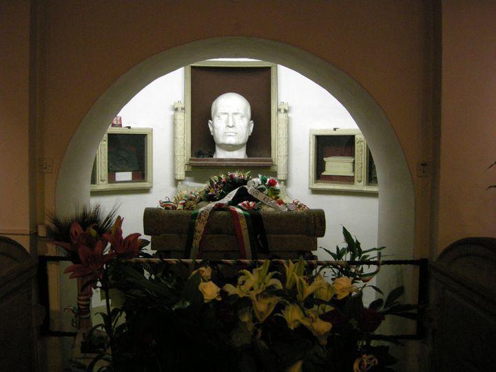Benito Mussolini's bust and crypt in San Cassiano cemetery are a sensitive topic in Predappio, Italy.