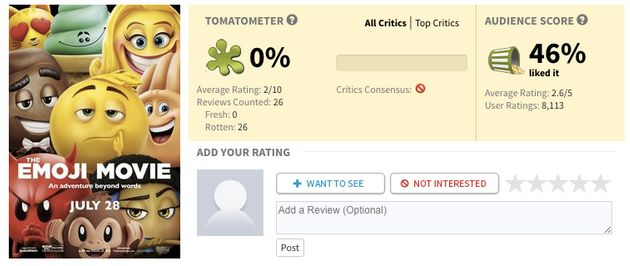 'The Emoji Movie' Has A 0 Percent Rating On Rotten Tomatoes So