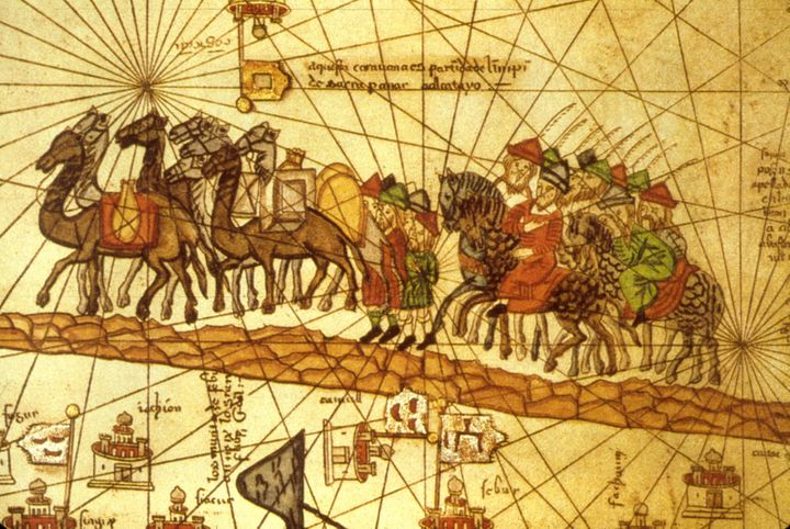 Illustrated map depicting Marco Polo's journey along the Silk Road to China.